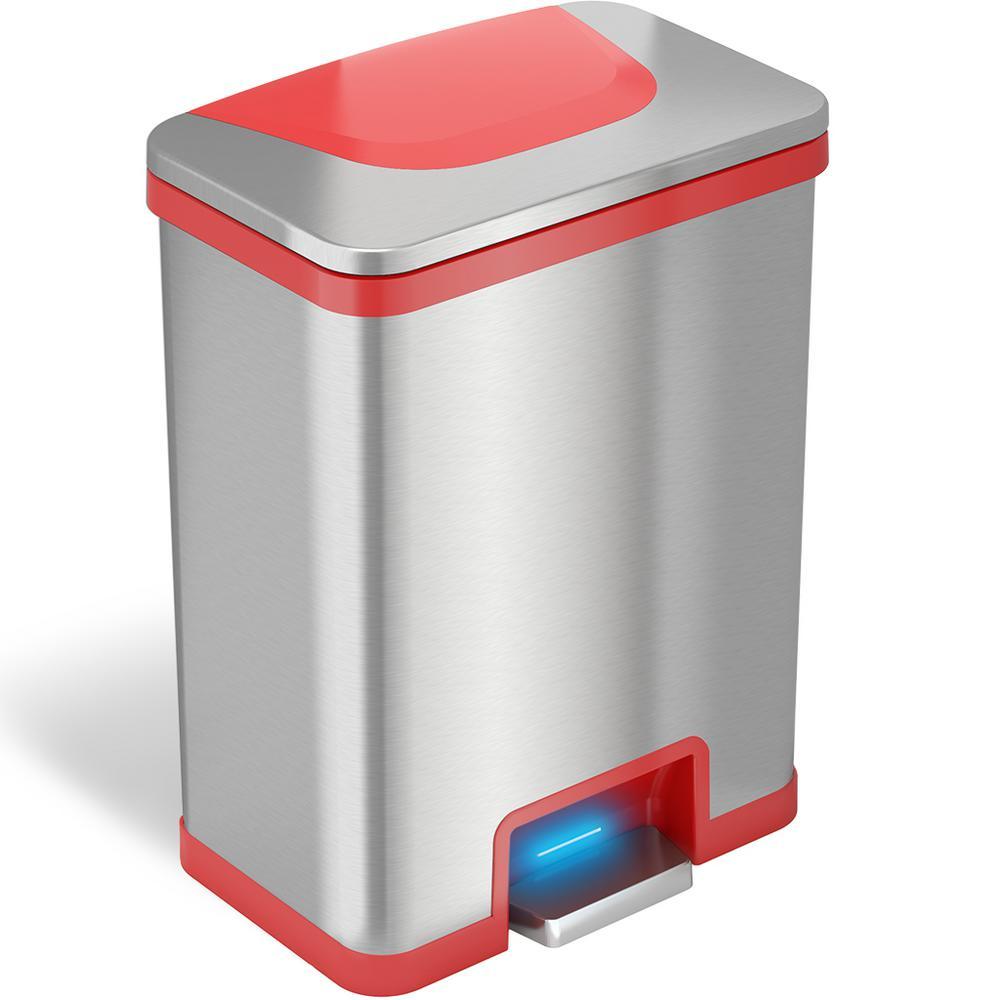TapCan 13 Gal. Step Pedal Sensor Trash Can (Red Trim)