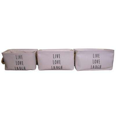 15 in. x 8.7 in. Rectangular Fabric Basket Set with Rope Handles