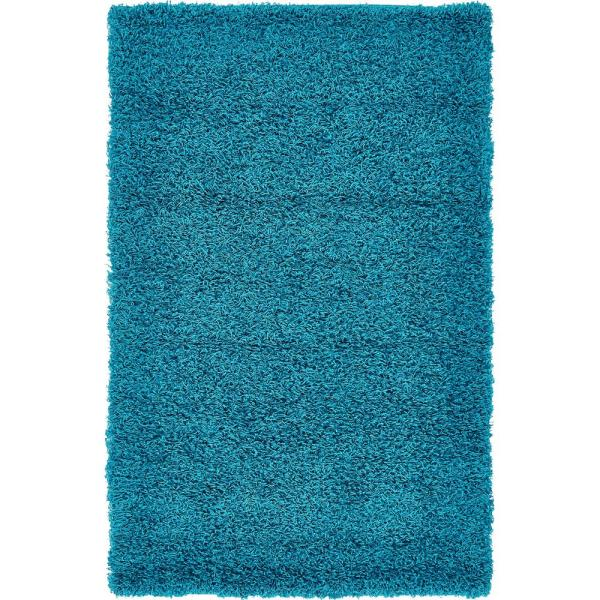Solid Shag Turquoise 3 ft. x 5 ft. Area Rug