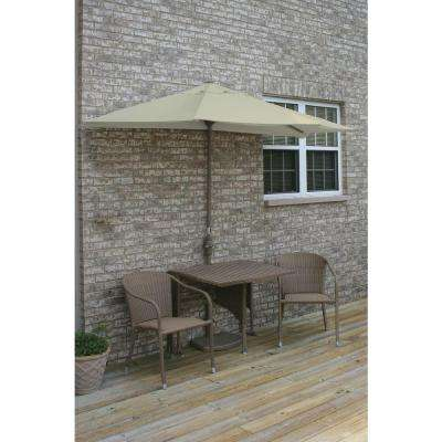 Terrace Mates Daniella 5-Piece Coffee Patio Bistro Set with 7.5 ft. Antique Beige Sunbrella Half-Umbrella
