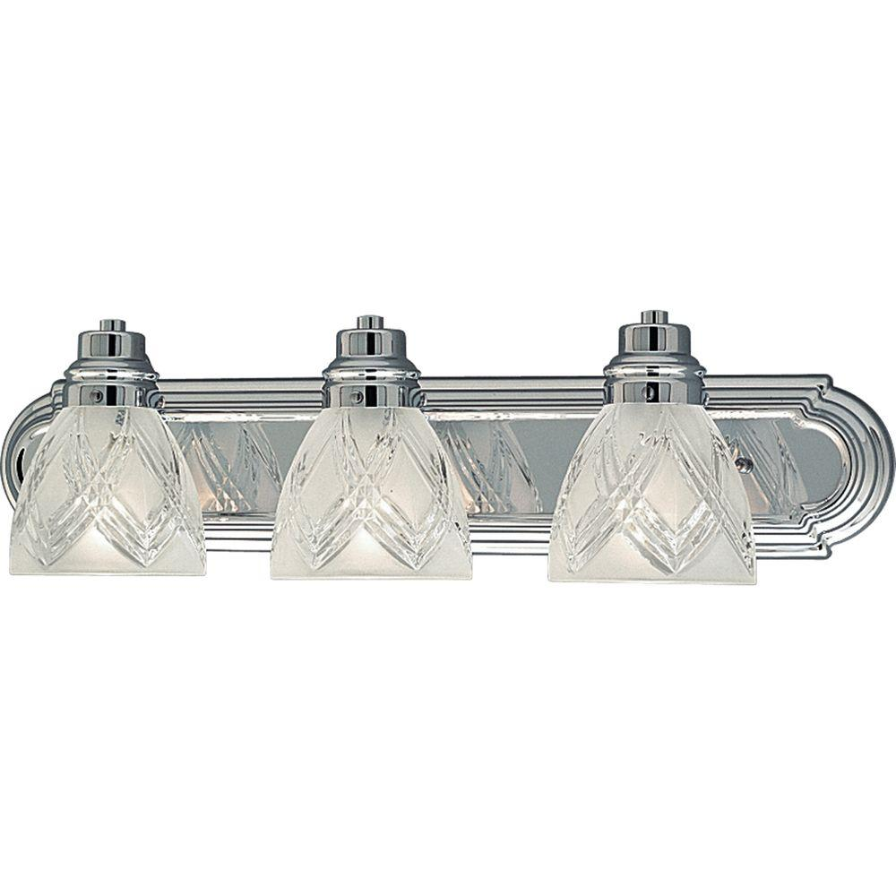 Progress Lighting Crystal Cut Glass Collection 3-Light Chrome Vanity Fixture