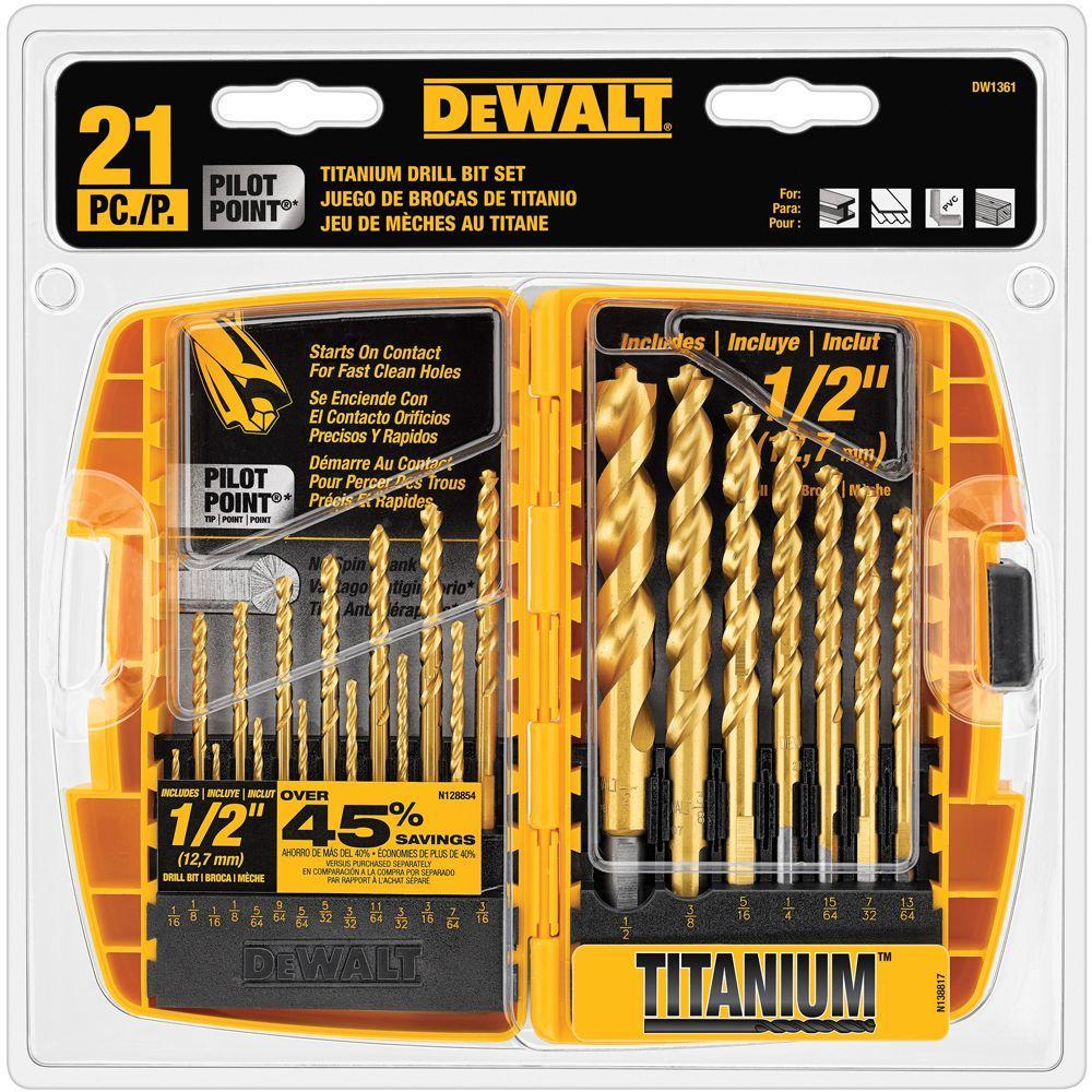 Click here to buy Dewalt Titanium Pilot Point Drill Bit Set (21-Piece) by DEWALT.