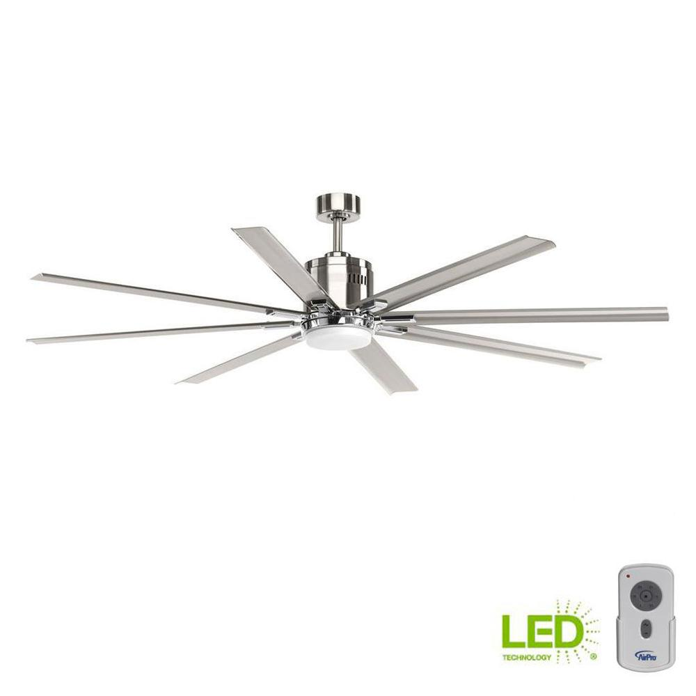 Progress Lighting Vast Collection 72 In Led Indoor Brushed Nickel Ceiling Fan With Light Kit And Remote