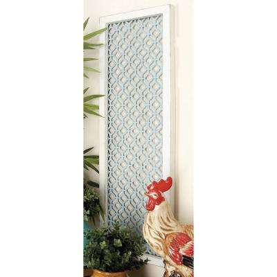 39 in. x 12 in. Rustic Charms Lattice Patterns Wall Decor in Distressed Wood and Iron