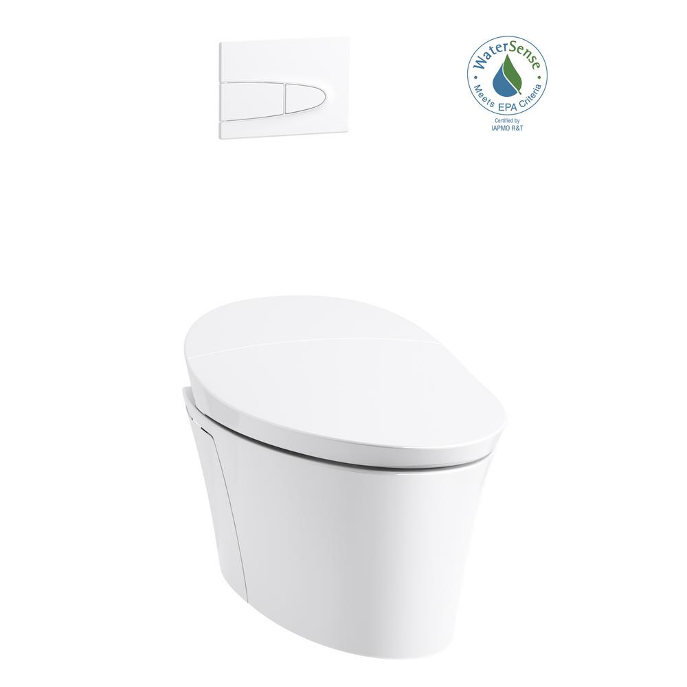 Veil 1-Piece 0.8 or 1.6 GPF Dual Flush Elongated Wall-Hung Toilet
