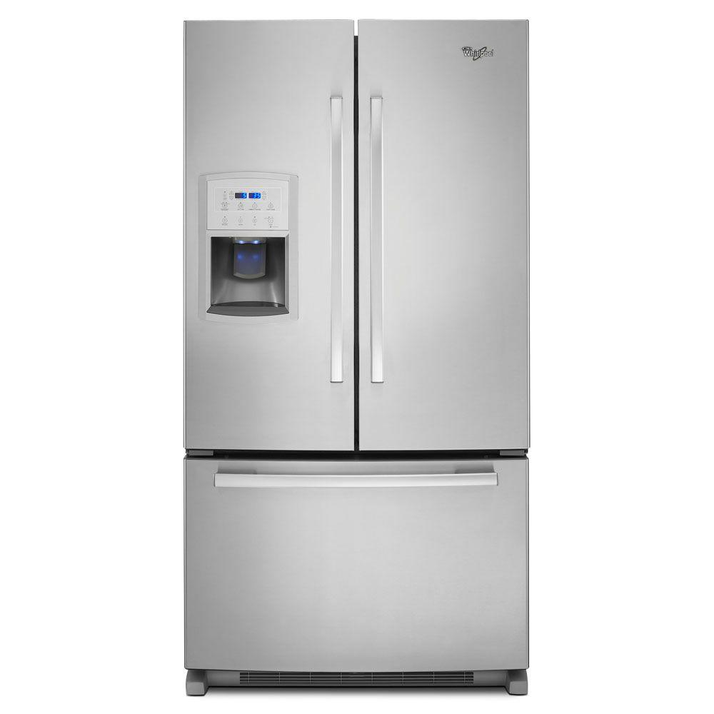 Whirlpool 36 in. W 19.7 cu. ft. French Door Refrigerator in Monochromatic Stainless Steel, Counter Depth
