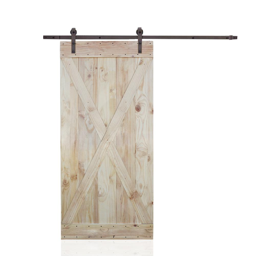 36 in. x 84 in. 2-Side X-Panel Wood Color Pine Slab