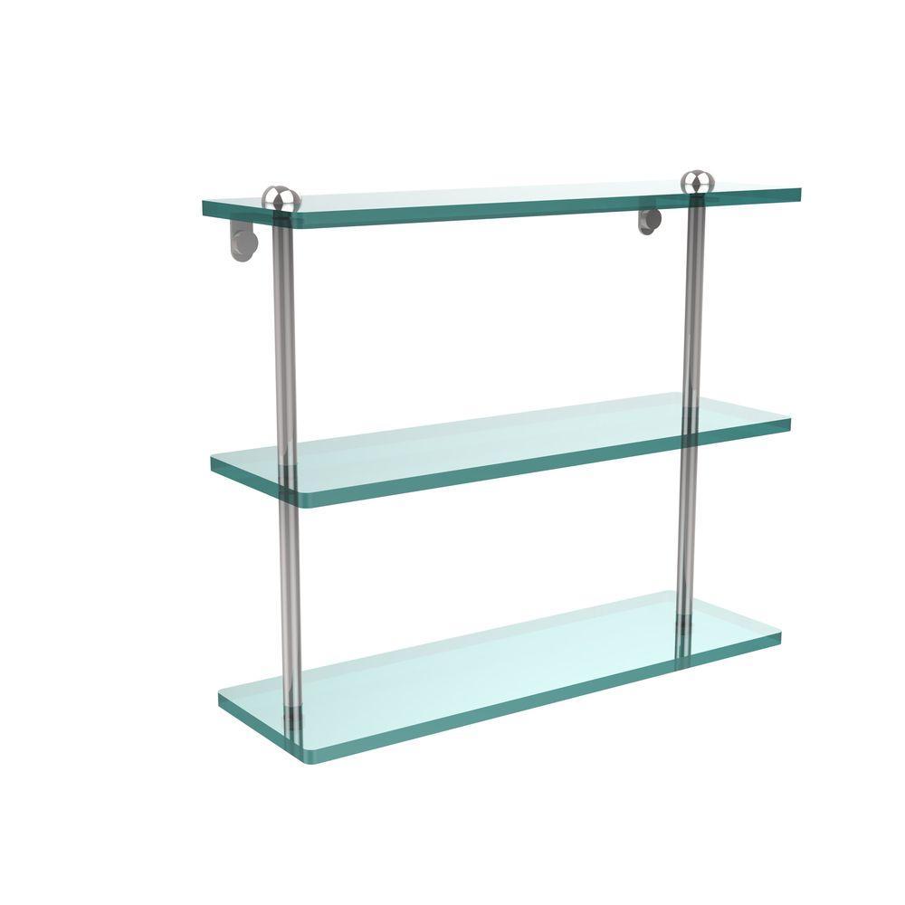 Allied Brass 16 in. L x 15 in. H x 5 in. W 3-Tier Clear Glass Bathroom Shelf in Polished Chrome