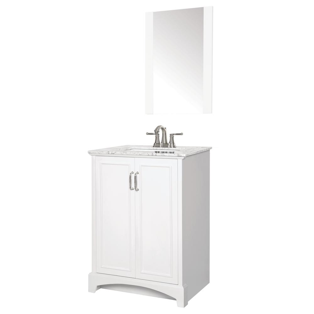Sheffield Home Madison 24 in. W x 19 in. D Bath Vanity in White with Engineered Stone Vanity Top in Gray with White Basin and Mirror