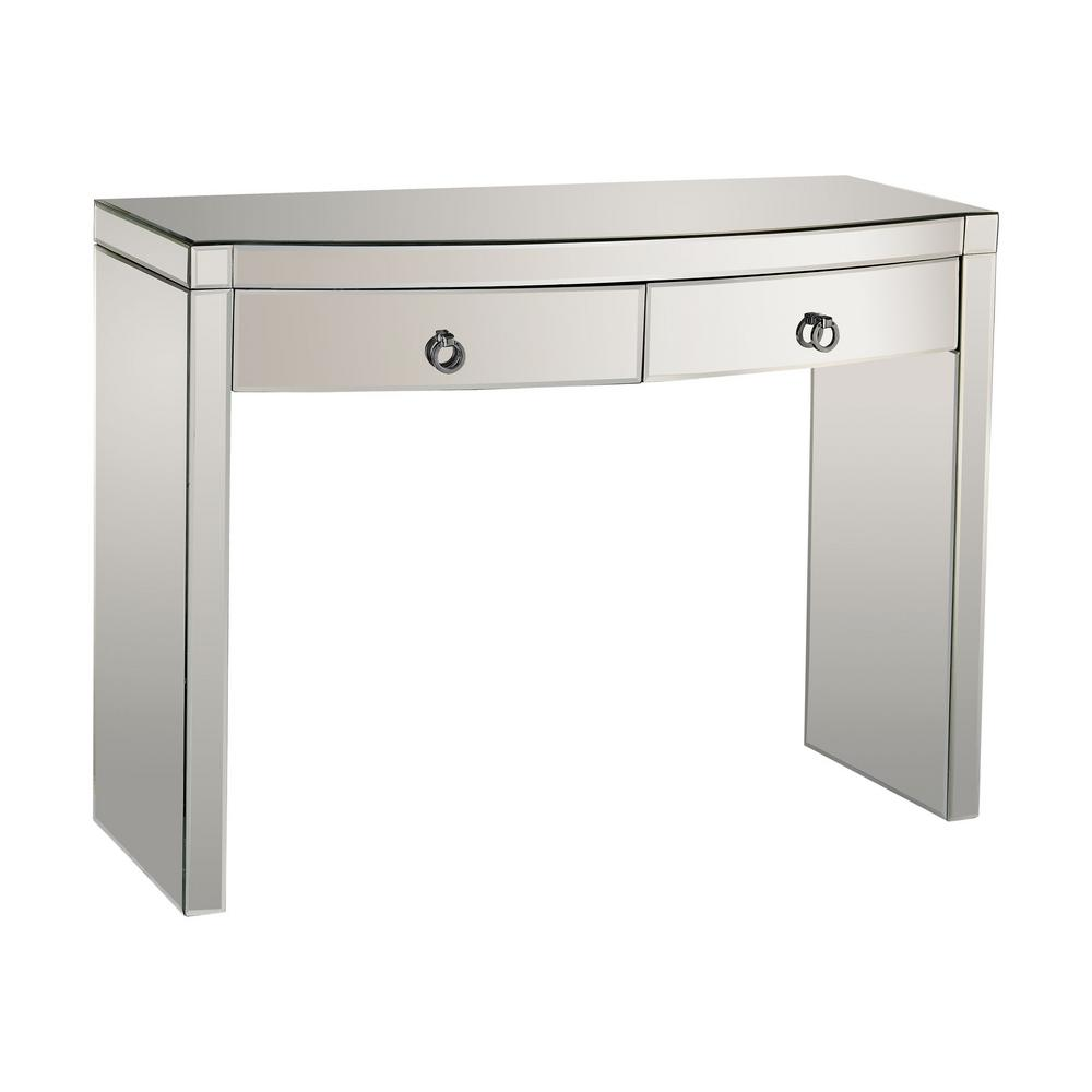 Charmant Titan Lighting Bow Front Mirrored Storage Console Table