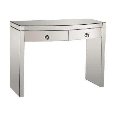 Bow Front Mirrored Storage Console Table