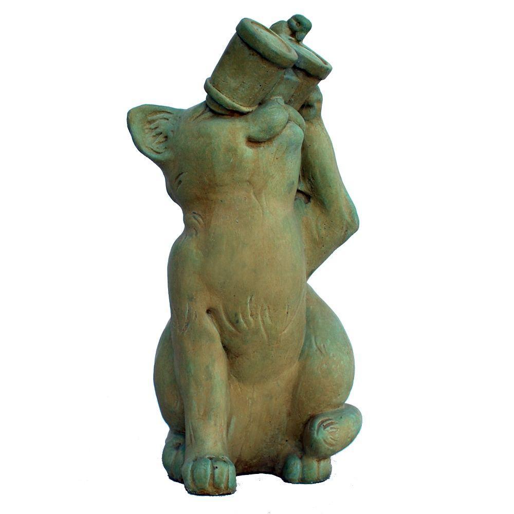 Cast Stone Birdwatching Cat Garden Statue, Weathered Bronze
