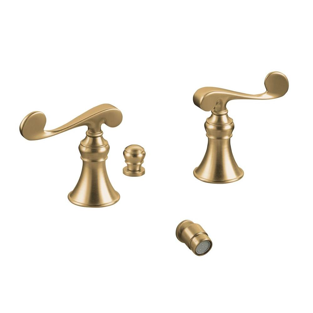 KOHLER Revival 2-Handle Bidet Faucet in Vibrant Brushed Bronze with Below-the-Rim Swivel Spray and Scroll Lever Handles