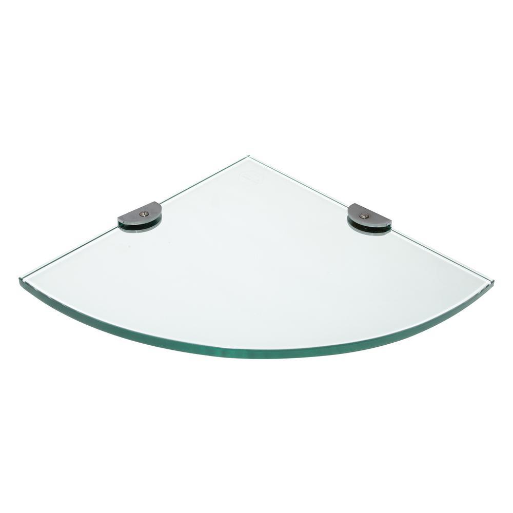 Oval 10 in. x 10 in. Glass Corner Shelf in Silver