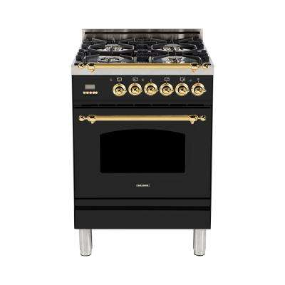 24 in. 2.4 cu. ft. Single Oven Italian Gas Range with True Convection, 4 Burners, Brass Trim in Glossy Black