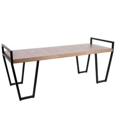 Julien Black Industrial Bench Metal Walnut Wood