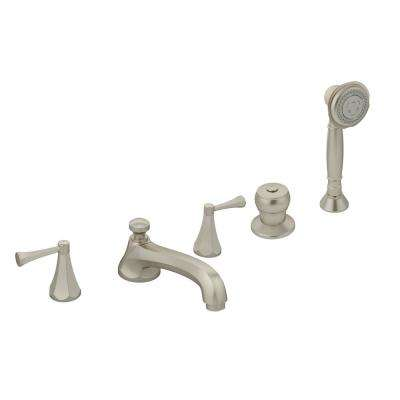 Canterbury 2-Handle Deck Mounted Roman Tub Faucet with Hand Shower in Satin Nickel