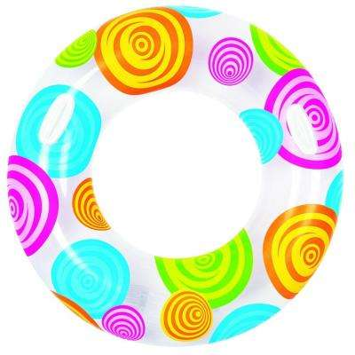 35 in. Circles and Swirls Inflatable Inner Tube Float with Handles