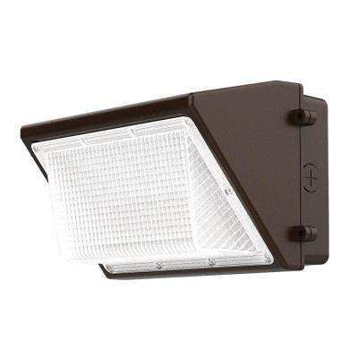 Bronze Outdoor Integrated LED Wall Pack Light with 3500 Lumens and DLC-Rating