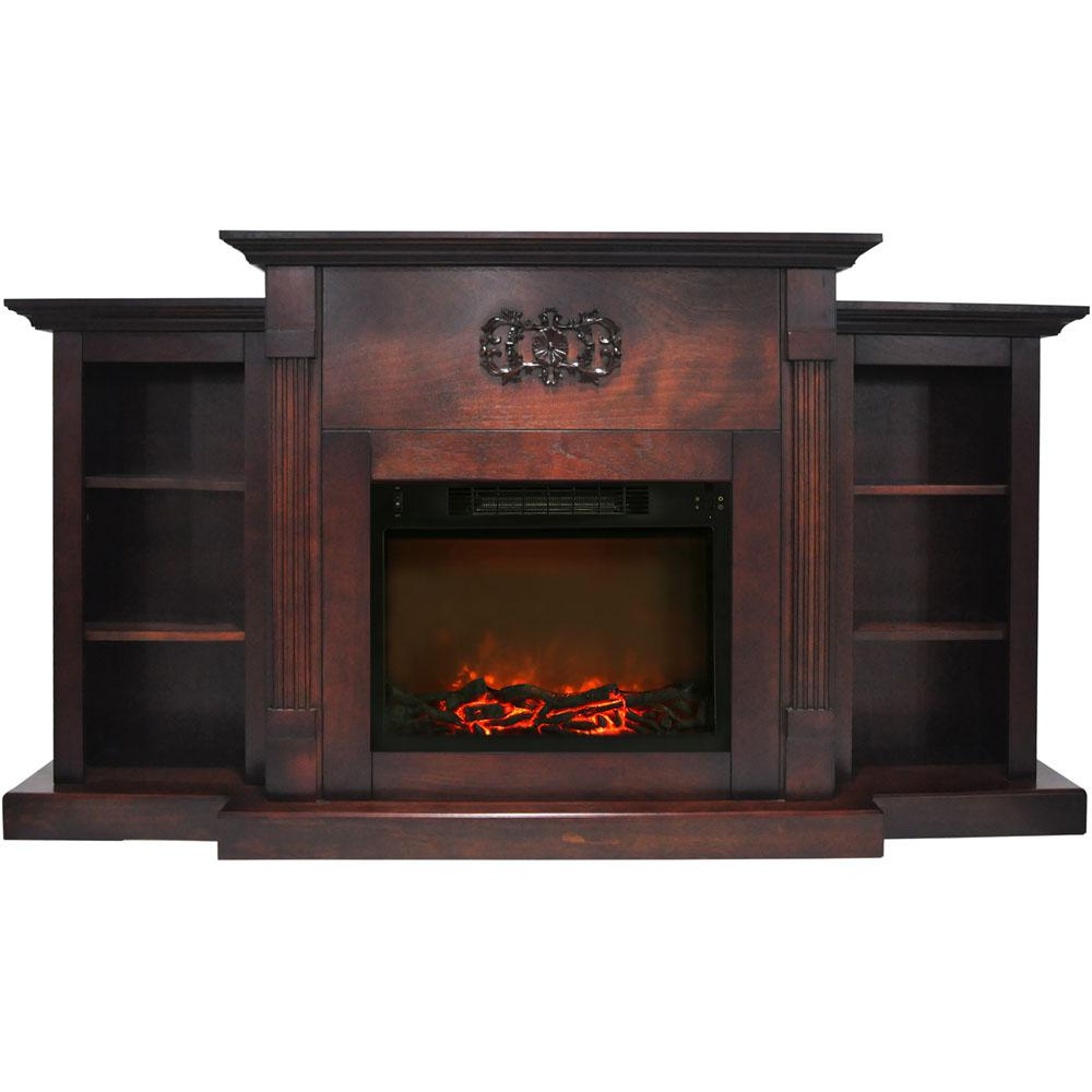 Hanover Classic 72 In Electric Fireplace In Mahogany With Built In Bookshelves And A 1500 Watt