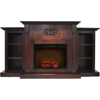 Classic 72 in. Electric Fireplace in Mahogany with Built-in Bookshelves and a 1500-Watt Charred Log Insert
