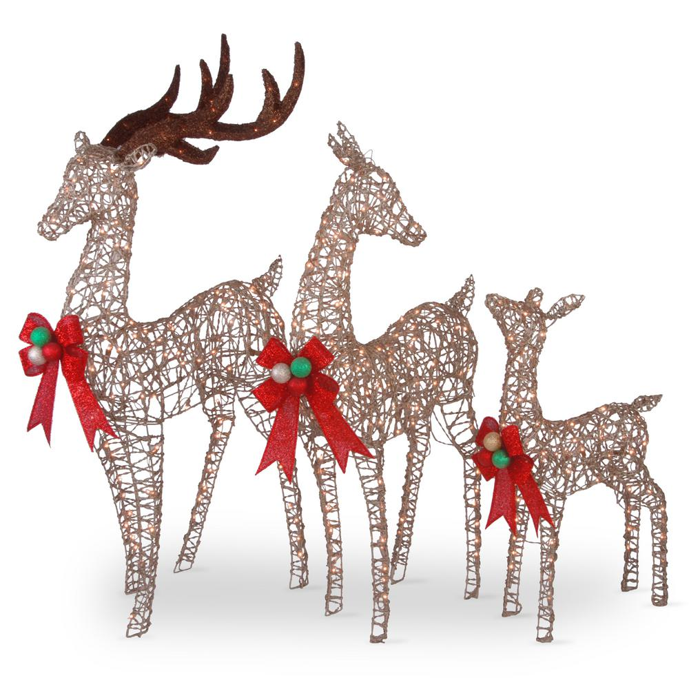 60 in., 52 in. and 36 in. Champagne Glittered Deer Family