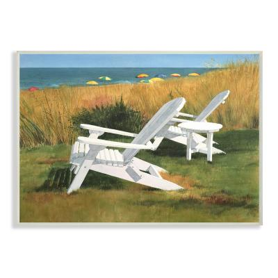 """10 in. x 15 in. """"Two White Adirondack Chairs by Umbrella Beach"""" by Linda Roberts Wood Wall Art"""