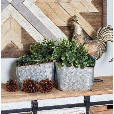 Square Iron and Wood Double-Sided Basket with Handle