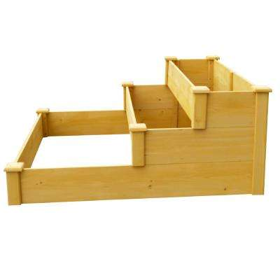 48 in. x 21 in. Medium Brown Solid Wood 3-Tier Raised Garden Bed