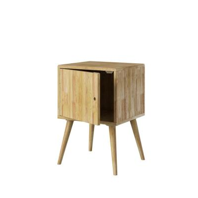 Freemont in Natural Finish Mid-Century Modern Square Wood Chest Style End Table with Door