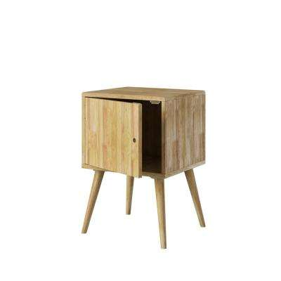 Freemont in Natural Finish Mid-Century Modern Square Wood Chest with Door