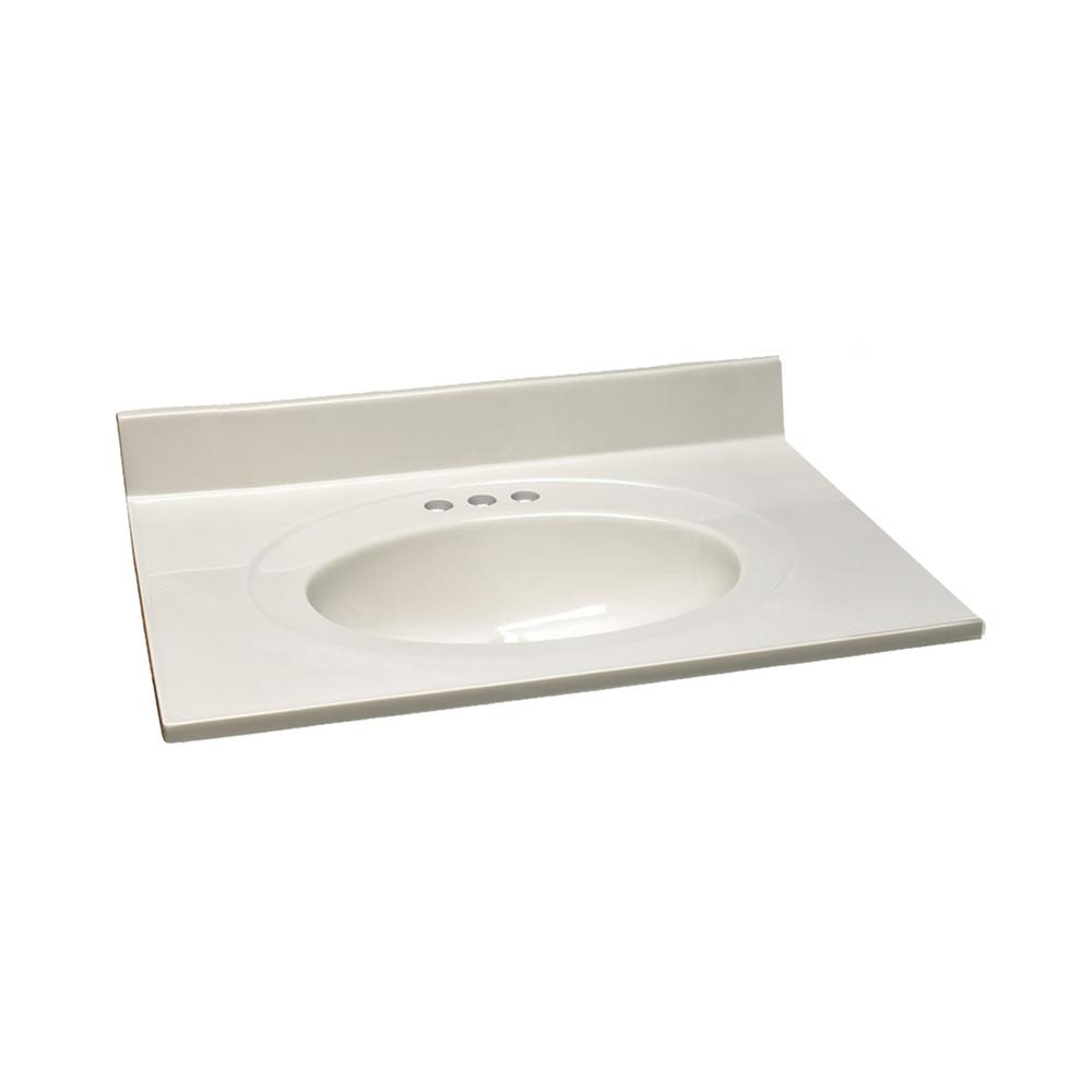 Design House 31 in. W x 22 in. D Cultured Marble Vanity Top in White with White on White Bowl