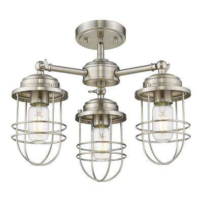 Seaport 3-Light Pewter Semi-Flush Mount Light