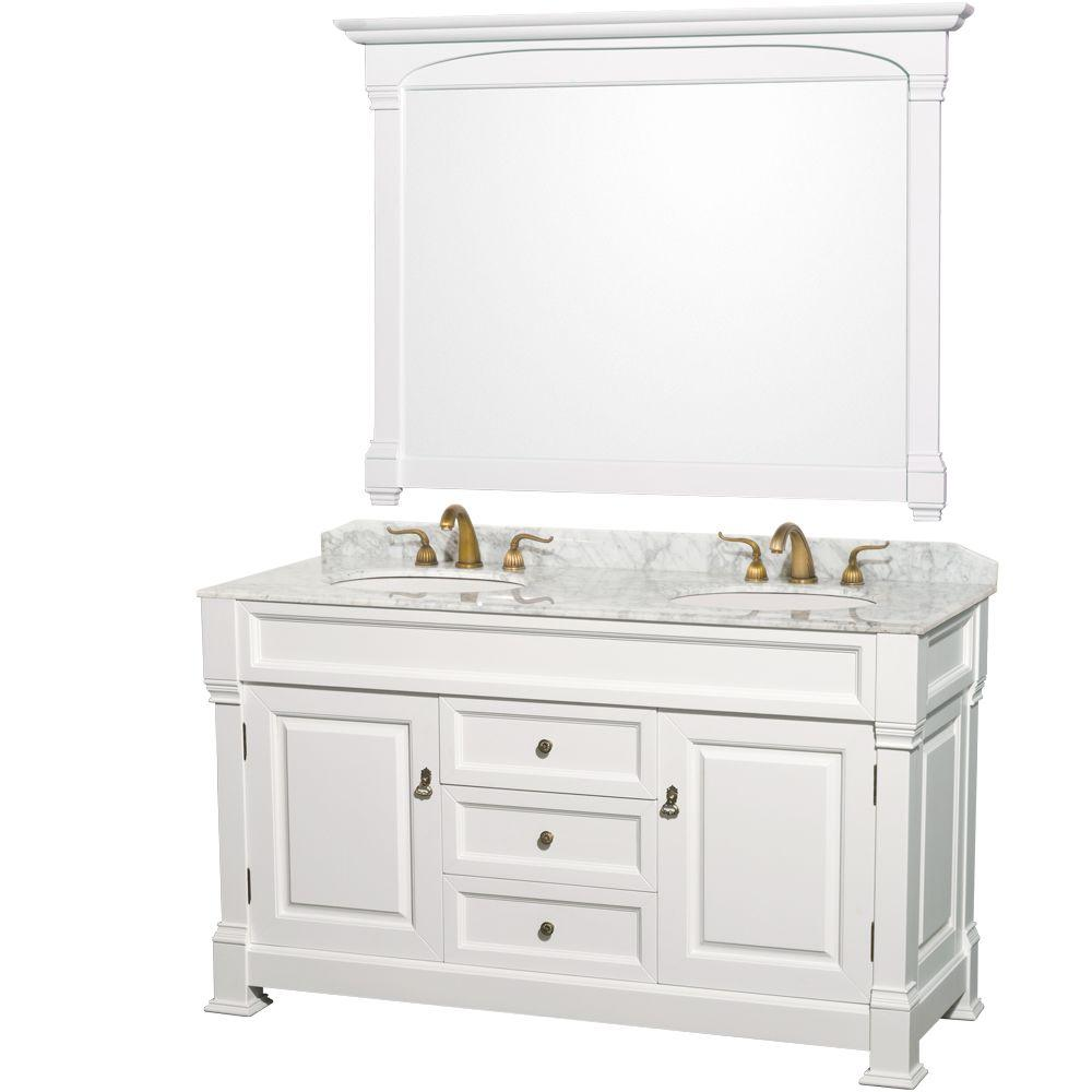 Wyndham Collection Andover 60 In Double Vanity White With Marble Top Carrara