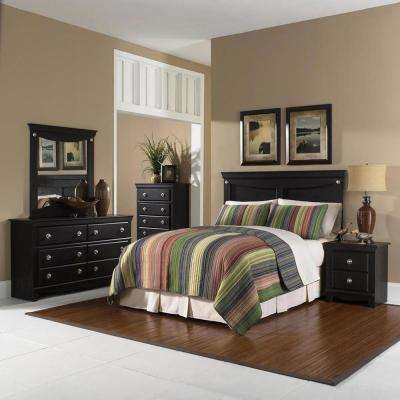 Southampton 5-Piece Dark Pecan Queen Bed Headboard, Dresser, Mirror, Chest, Nightstand Bedroom Suite