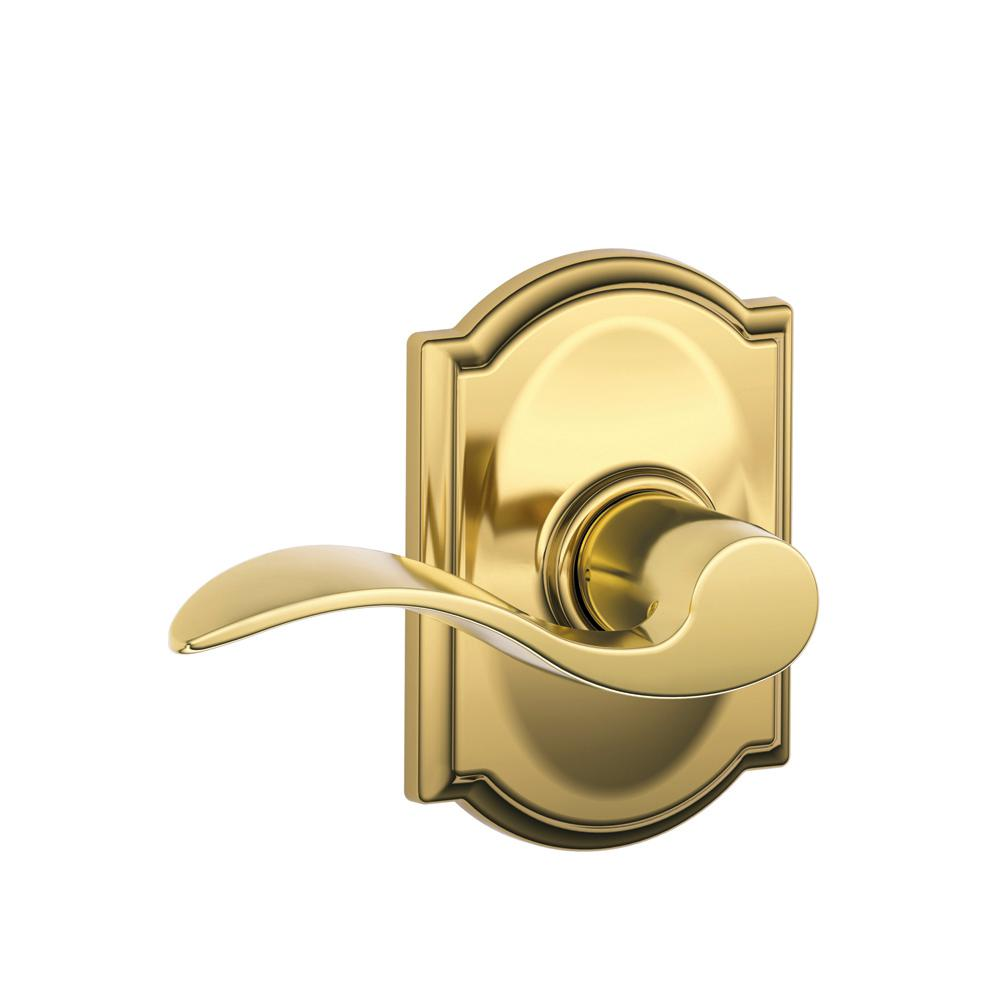 Accent Bright Brass Hall and Closet Lever with Camelot Trim