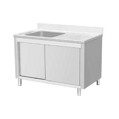 Freestanding Stainless Steel 56 in. Single Bowl Kitchen Sink on Left Backsplash Storage Cabinet