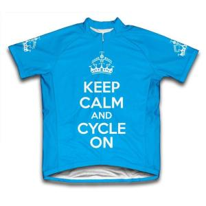 703b02eb710 2X-Large Blue Keep Calm and Cycle on Microfiber Short-Sleeved Cycling Jersey
