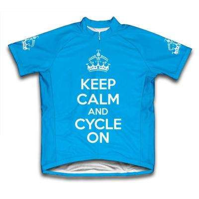 Large Blue Keep Calm and Cycle on Microfiber Short-Sleeved Cycling Jersey
