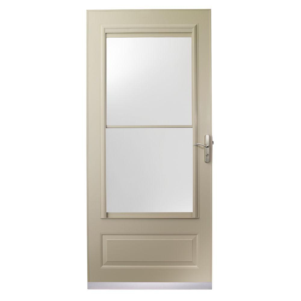 null 36 in. x 80 in. 400 Series Sandtone Aluminum Self-Storing Storm Door with Nickel Hardware-DISCONTINUED