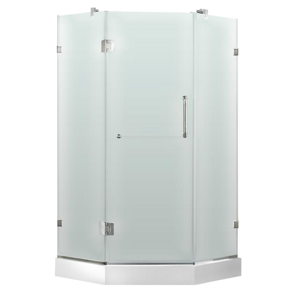 Vigo 36-1/8 in. x 76-3/4 in. Frameless Neo-Angle Shower Door with Low-Profile Base in Frosted/Brushed Nickel