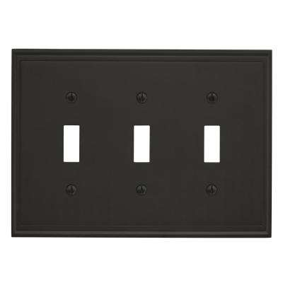 Mulholland 3 Toggle Black Bronze Wall Plate