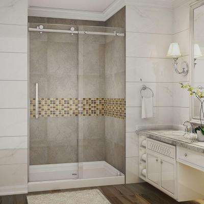 Moselle 48 in. x 77-1/2 in. Completely Frameless Sliding Shower Door in Stainless Steel with Center Base