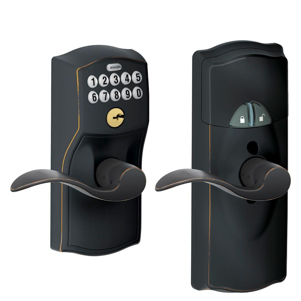 Schlage Aged Bronze Home Keypad Lever with Nexia Home Intelligence
