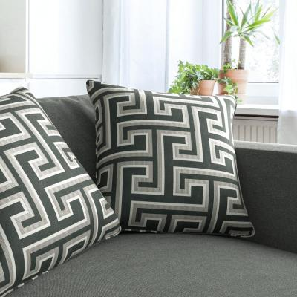 Geometric Maze Silver Decorative Pillow (Set of 2)