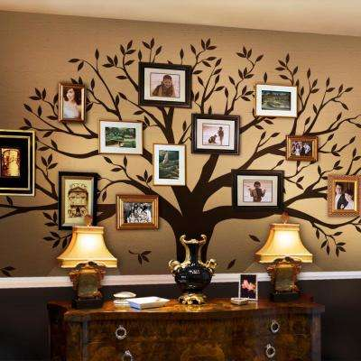 Family Tree Wall Decal  Tree Wall Decal for Picture Frames in Chestnut Brown Small Size