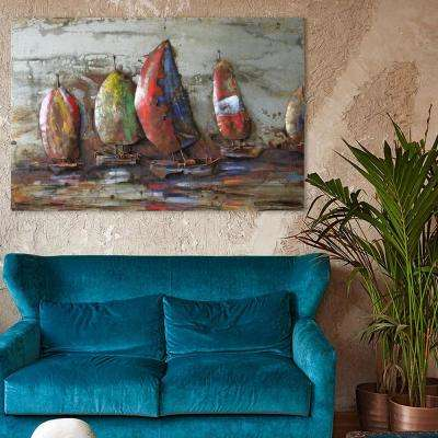 """32 in. X 48 in. """"The Regatta 1"""" Mixed Media Iron Hand Painted Dimensional Wall Art"""