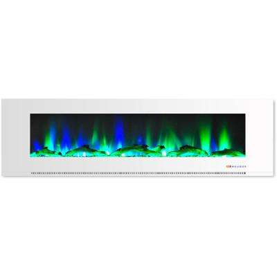 72 in. Wall-Mount Electric Fireplace in White with Multi-Color Flames and Driftwood Log Display