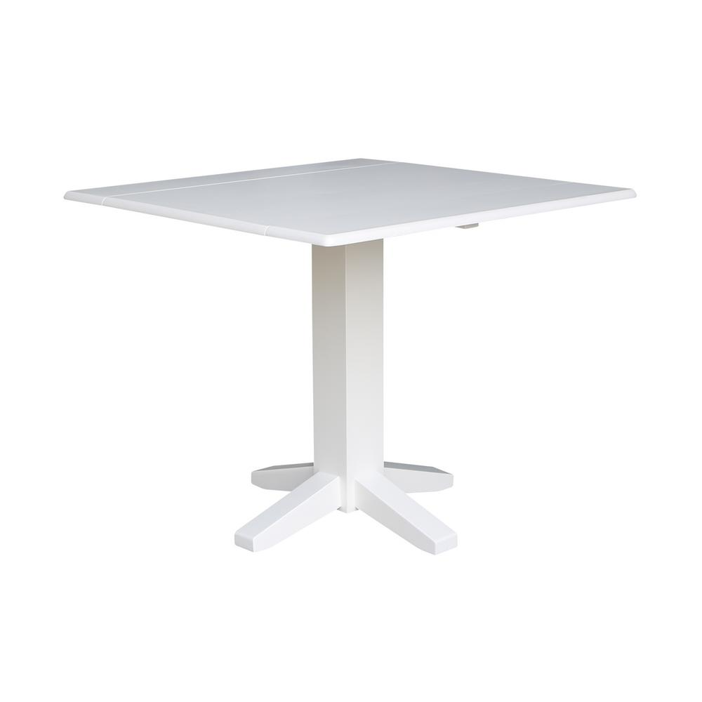 International Concepts In Pure White Square DropLeaf Dining - White square pedestal table