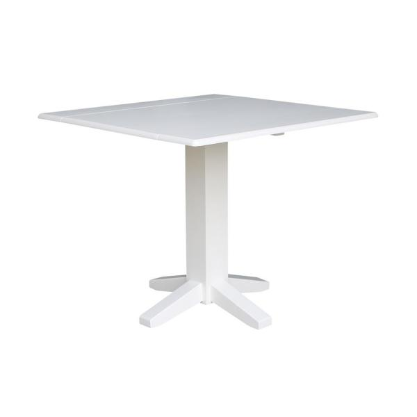 International Concepts 36 in. Pure White Square Drop-Leaf ...